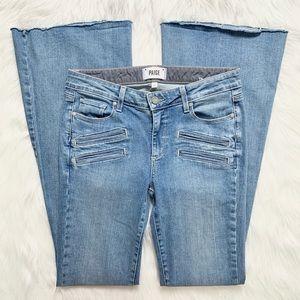Paige Retro Flare Leg Zippered Pocket Jeans